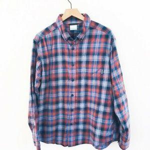 Columbia Plaid Cotton Button Up Shirt